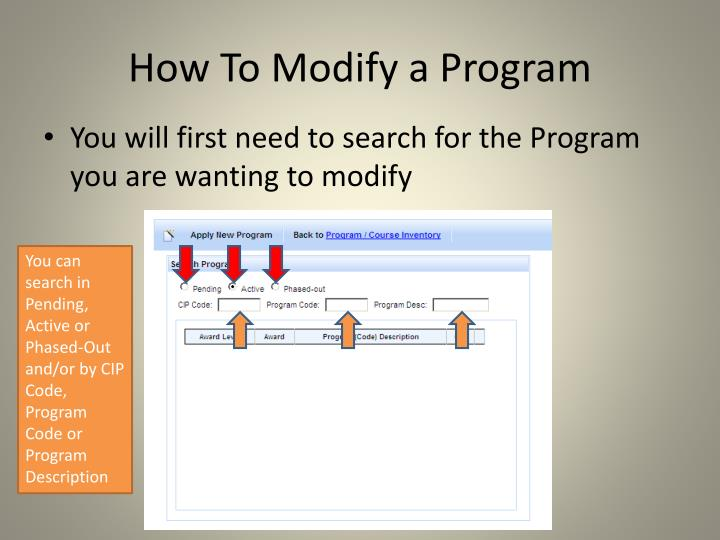 How To Modify a Program