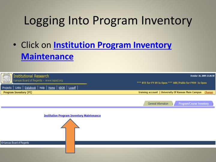 Logging Into Program Inventory