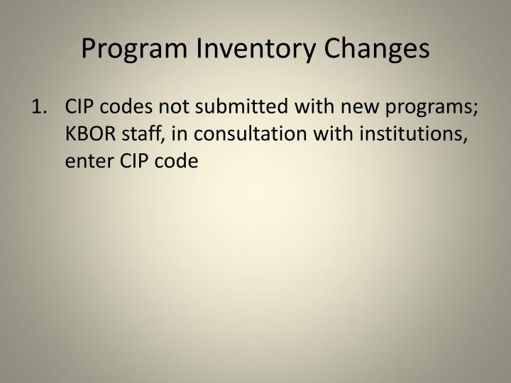 Program Inventory Changes