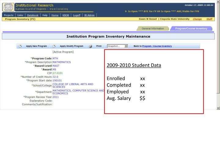 2009-2010 Student Data