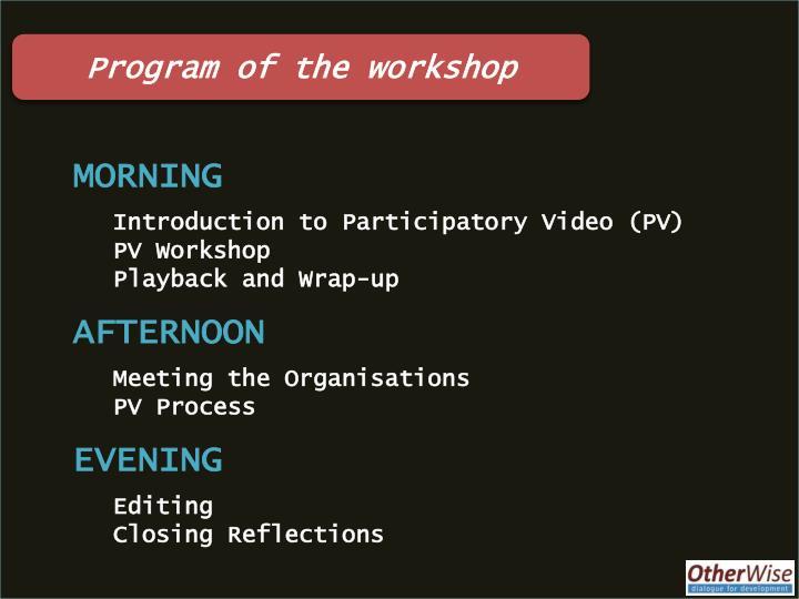 Program of the workshop