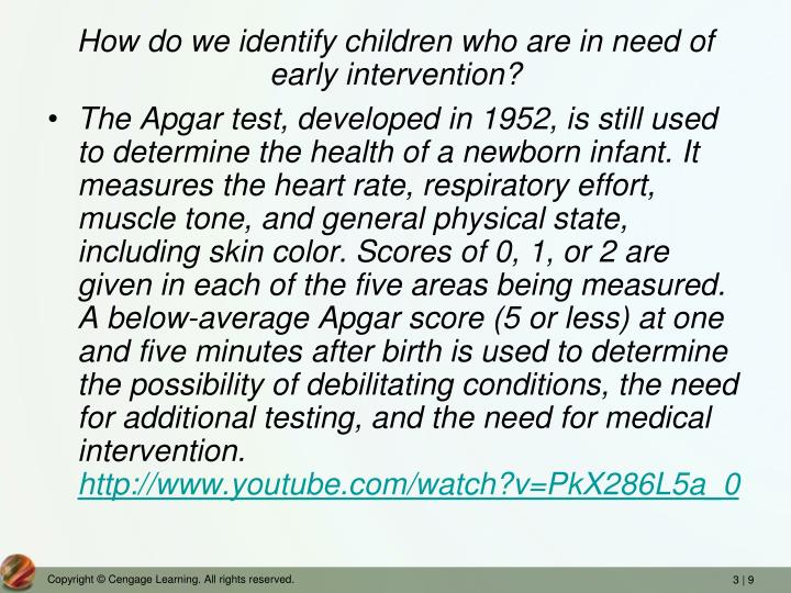 How do we identify children who are in need of early intervention?