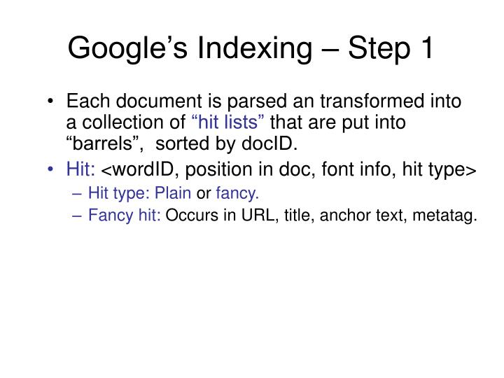 Google's Indexing – Step 1