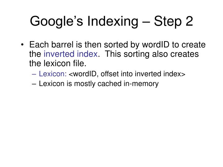 Google's Indexing – Step 2
