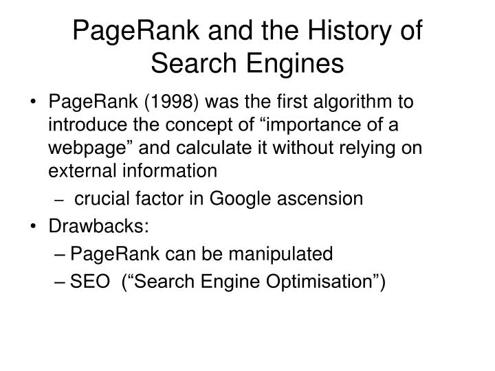 PageRank and the History of Search Engines