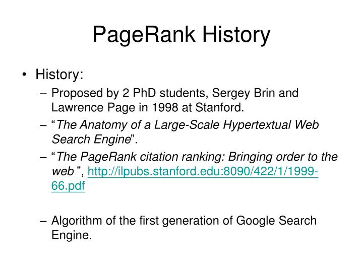 PageRank History
