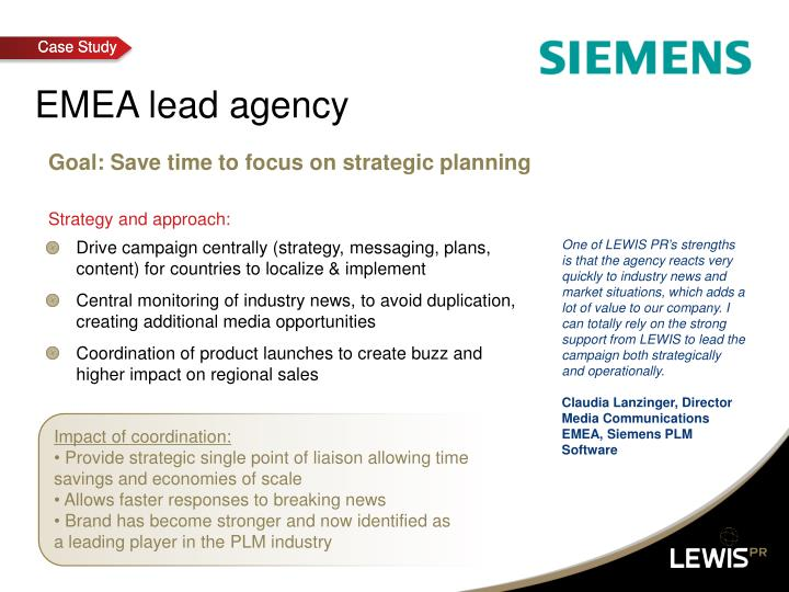 EMEA lead agency