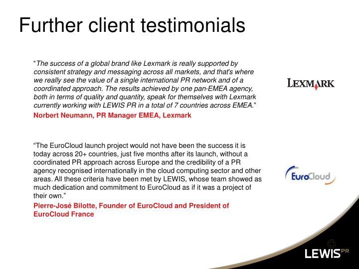 Further client testimonials