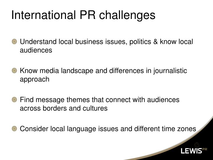International PR challenges
