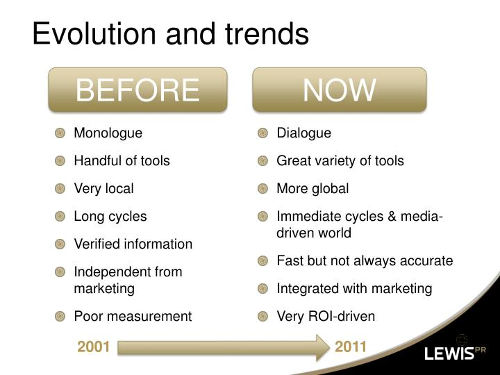 Evolution and trends