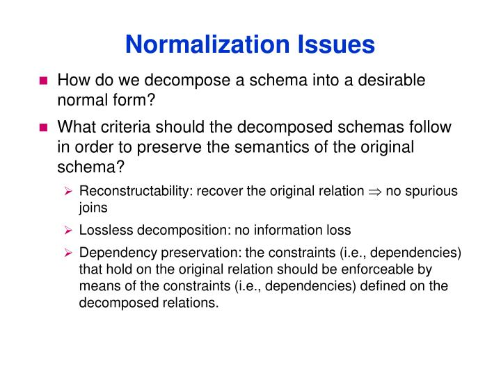 Normalization Issues