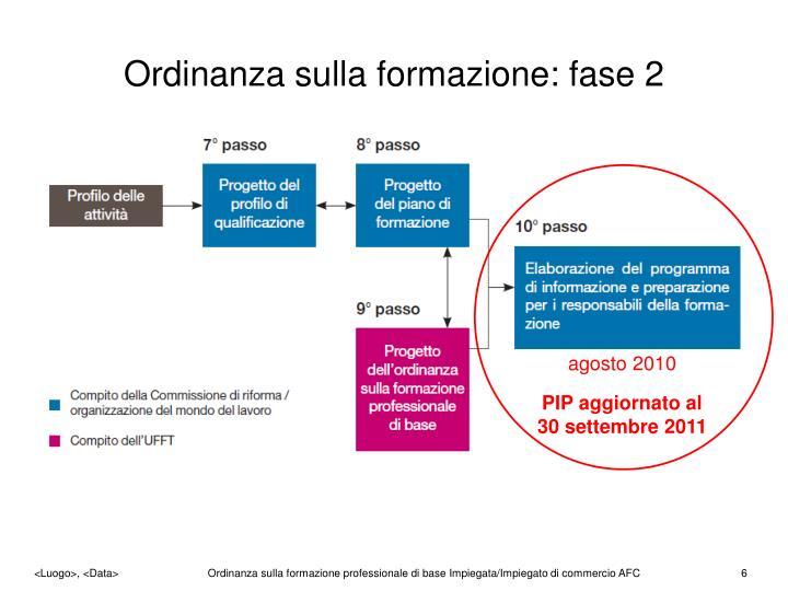 Ordinanza sulla formazione: fase 2