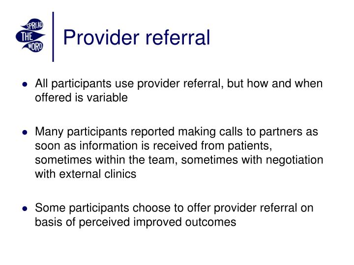 Provider referral