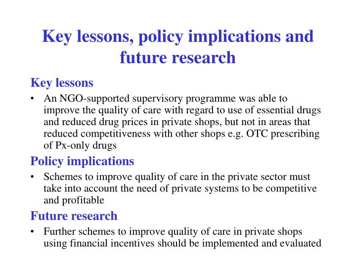 Key lessons, policy implications and future research