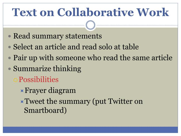 Text on Collaborative Work