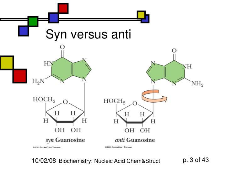 Syn versus anti