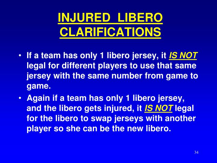 INJURED  LIBERO CLARIFICATIONS