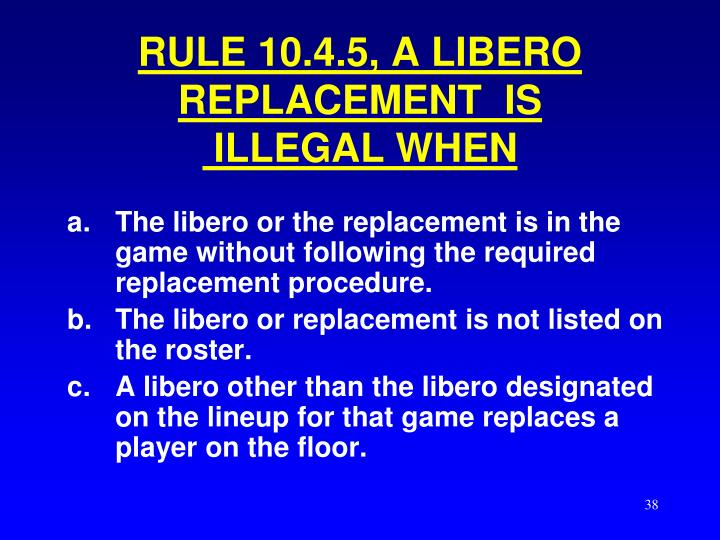 RULE 10.4.5, A LIBERO  REPLACEMENT  IS