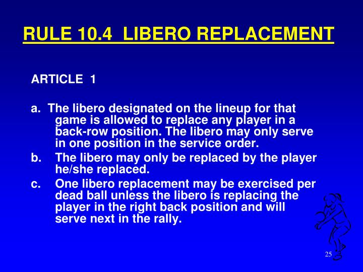 RULE 10.4  LIBERO REPLACEMENT