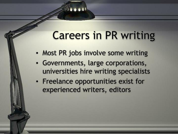 Careers in PR writing
