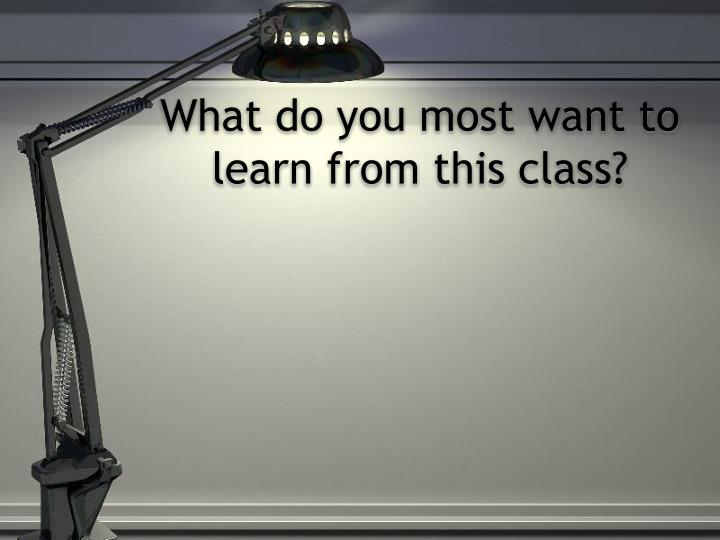 What do you most want to learn from this class