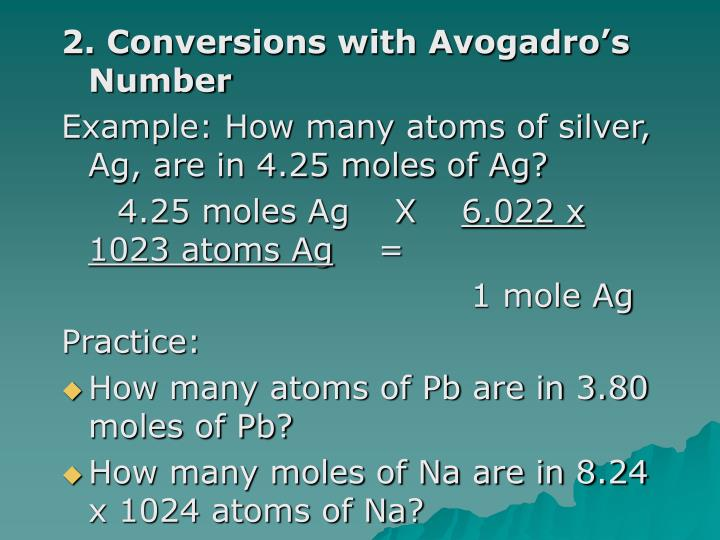 2. Conversions with Avogadro's Number