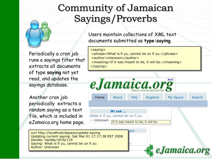 Community of Jamaican Sayings/Proverbs