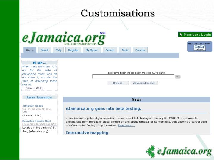 Customisations