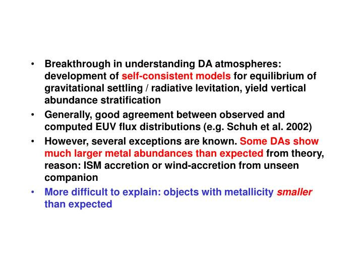 Breakthrough in understanding DA atmospheres: development of