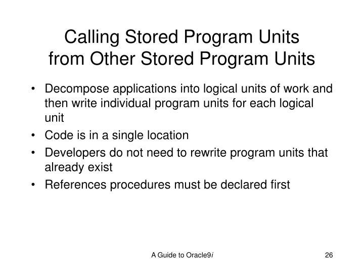 Calling Stored Program Units
