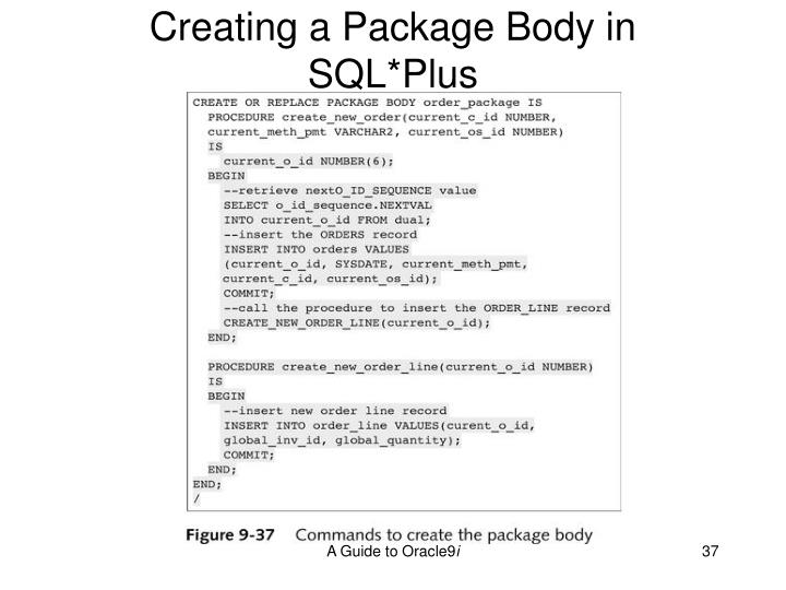 Creating a Package Body in SQL*Plus