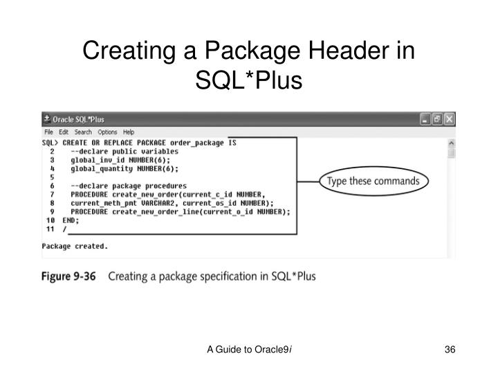 Creating a Package Header in SQL*Plus