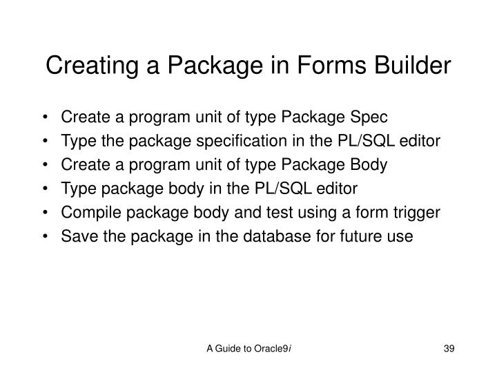 Creating a Package in Forms Builder
