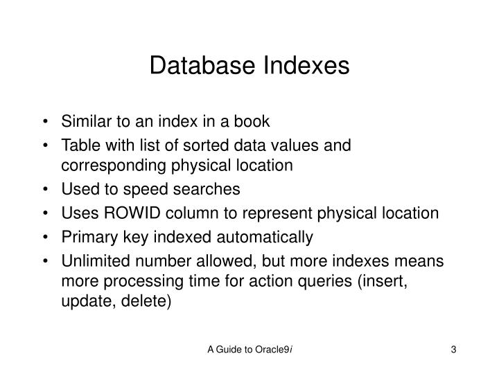 Database indexes