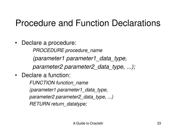 Procedure and Function Declarations