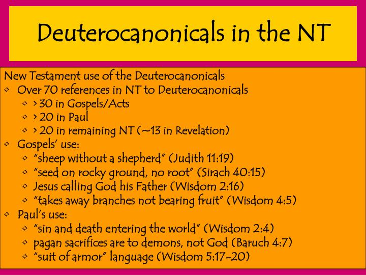 Deuterocanonicals in the NT