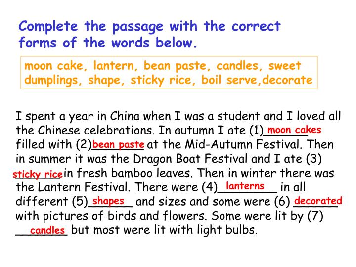 Complete the passage with the correct forms of the words below.