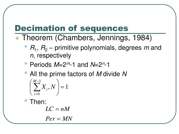 Decimation of sequences