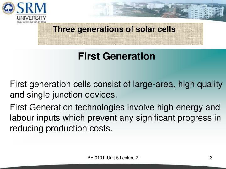 Three generations of solar cells