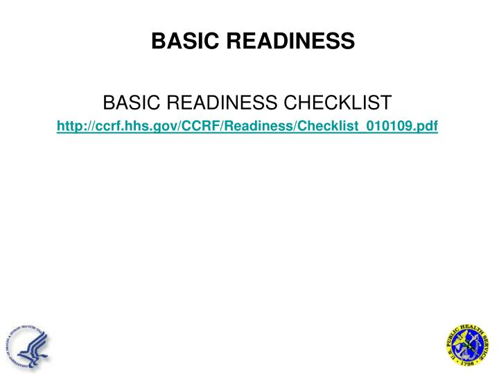 BASIC READINESS CHECKLIST