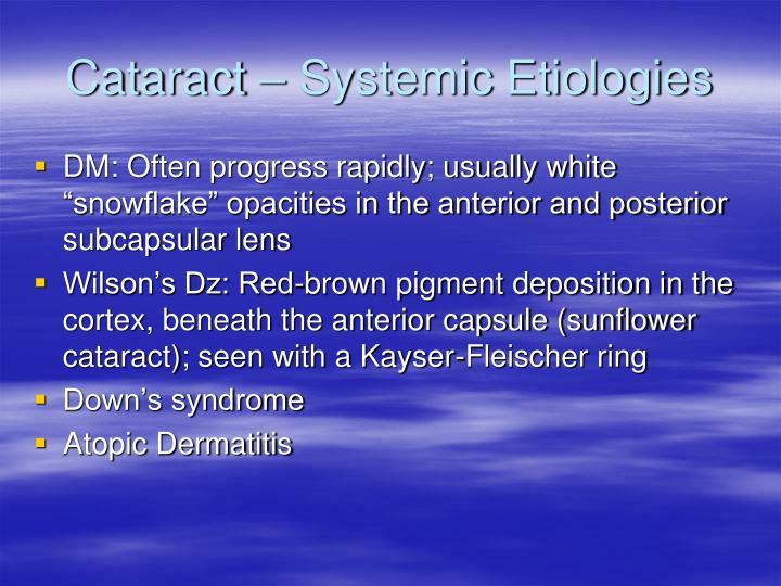 Cataract – Systemic Etiologies