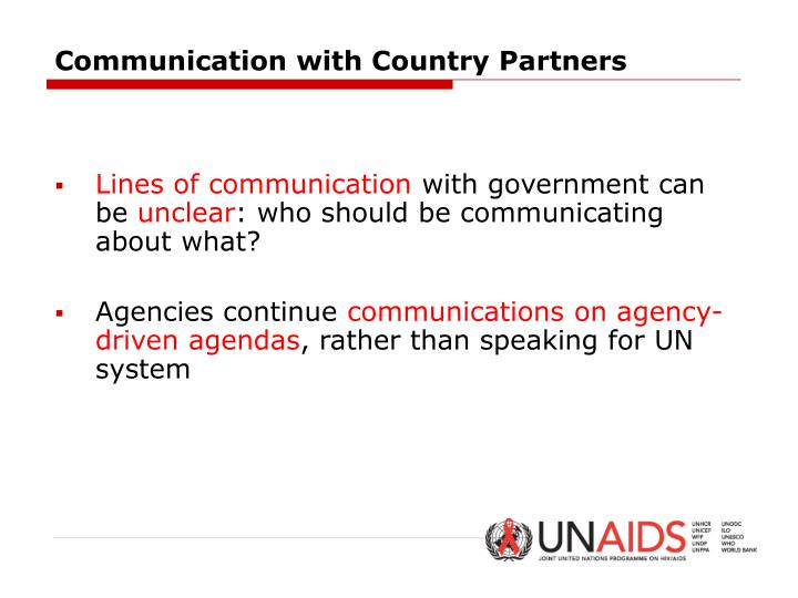 Communication with Country Partners
