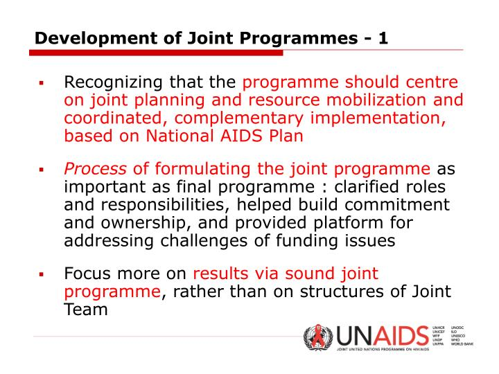 Development of Joint Programmes - 1