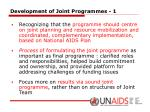 development of joint programmes 1
