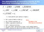 the determinants of innovative activity at the local level knowledge production function