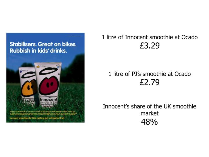 1 litre of Innocent smoothie at Ocado