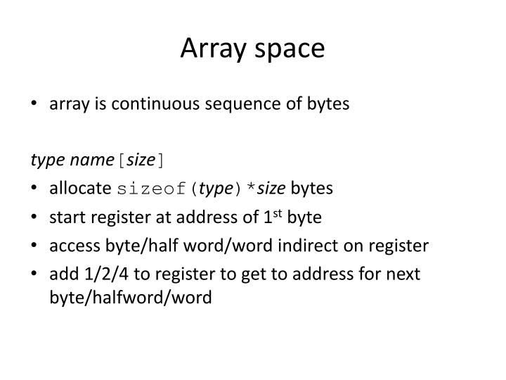 Array space