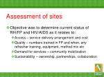 assessment of sites