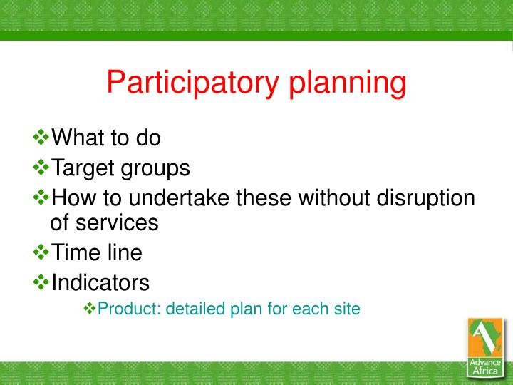 Participatory planning