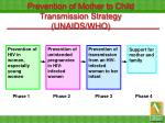 prevention of mother to child transmission strategy unaids who